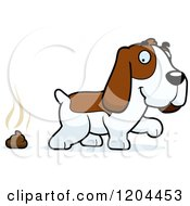 Cartoon Of A Cute Hound Dog Pooping Royalty Free Vector Clipart