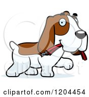 Cartoon Of A Cute Hound Dog Carrying A Leash Royalty Free Vector Clipart