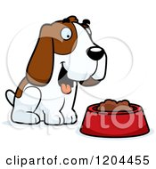 Cartoon Of A Cute Hound Dog By A Food Bowl Royalty Free Vector Clipart