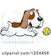 Cartoon Of A Cute Hound Dog Chasing A Tennis Ball Royalty Free Vector Clipart
