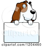Cartoon Of A Cute Hound Dog Over A Sign Royalty Free Vector Clipart