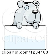 Cartoon Of A Cute Bulldog Puppy Dog Over A Sign Royalty Free Vector Clipart