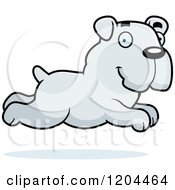 Cartoon Of A Cute Bulldog Puppy Dog Running Royalty Free Vector Clipart