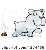 Cartoon Of A Cute Bulldog Puppy Dog And Poop Royalty Free Vector Clipart