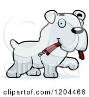 Cartoon Of A Cute Bulldog Puppy Dog Carrying A Leash Royalty Free Vector Clipart
