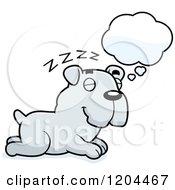Cartoon Of A Cute Bulldog Puppy Dog Sleeping Royalty Free Vector Clipart