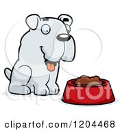 Cartoon Of A Cute Bulldog Puppy Dog And Food Bowl Royalty Free Vector Clipart by Cory Thoman