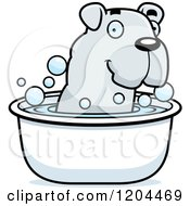 Cartoon Of A Cute Bulldog Puppy Dog Taking A Bath Royalty Free Vector Clipart
