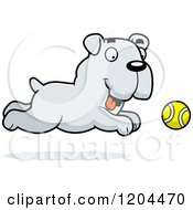 Cartoon Of A Cute Bulldog Puppy Dog Chasing A Ball Royalty Free Vector Clipart