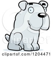 Cartoon Of A Cute Bulldog Puppy Dog Sitting Royalty Free Vector Clipart