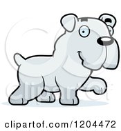Cartoon Of A Cute Bulldog Puppy Dog Walking Royalty Free Vector Clipart