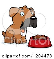 Cartoon Of A Cute Boxer Puppy Dog Sitting By Food Royalty Free Vector Clipart by Cory Thoman