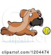 Cartoon Of A Cute Boxer Puppy Dog Chasing A Ball Royalty Free Vector Clipart