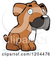 Cartoon Of A Cute Boxer Puppy Dog Sitting Royalty Free Vector Clipart by Cory Thoman
