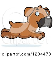 Cartoon Of A Cute Boxer Puppy Dog Running Royalty Free Vector Clipart