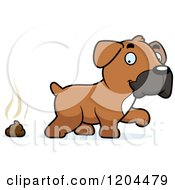 Cartoon Of A Cute Boxer Puppy Dog And Poop Royalty Free Vector Clipart