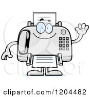Cartoon Of A Waving Fax Machine Royalty Free Vector Clipart