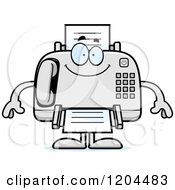 Cartoon Of A Happy Fax Machine Royalty Free Vector Clipart