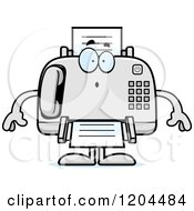 Cartoon Of A Surprised Fax Machine Royalty Free Vector Clipart
