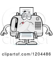 Cartoon Of A Sick Fax Machine Royalty Free Vector Clipart