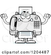 Cartoon Of A Mad Fax Machine Royalty Free Vector Clipart
