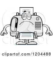 Cartoon Of A Depressed Fax Machine Royalty Free Vector Clipart