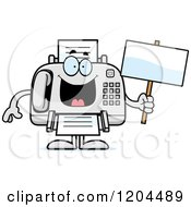 Cartoon Of A Sick Fax Machine Holding A Sign Royalty Free Vector Clipart