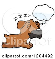 Cartoon Of A Cute Boxer Puppy Dog Dreaming Royalty Free Vector Clipart
