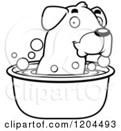 Cartoon Of A Black And White Cute Rottweiler Puppy Dog Taking Bath Royalty Free Vector Clipart