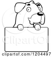 Cartoon Of A Black And White Cute Rottweiler Puppy Dog Over A Sign Royalty Free Vector Clipart by Cory Thoman