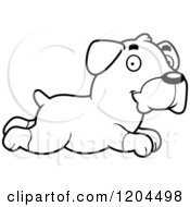 Cartoon Of A Black And White Cute Rottweiler Puppy Dog Running Royalty Free Vector Clipart by Cory Thoman
