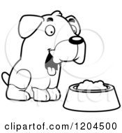 Cartoon Of A Black And White Cute Rottweiler Puppy Dog With A Food Bowl Royalty Free Vector Clipart