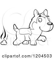 Cartoon Of A Black And White Cute Husky Puppy Dog Pooping Royalty Free Vector Clipart by Cory Thoman