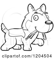 Cartoon Of A Black And White Cute Husky Puppy Dog Carrying A Leash Royalty Free Vector Clipart by Cory Thoman