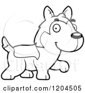 Cartoon Of A Black And White Cute Husky Puppy Dog Walking Royalty Free Vector Clipart by Cory Thoman