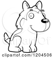 Cartoon Of A Black And White Cute Husky Puppy Dog Sitting Royalty Free Vector Clipart by Cory Thoman
