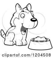 Cartoon Of A Black And White Cute Husky Puppy Dog With A Food Bowl Royalty Free Vector Clipart by Cory Thoman