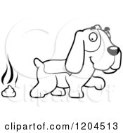 Cartoon Of A Black And White Cute Hound Dog Pooping Royalty Free Vector Clipart