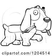 Cartoon Of A Black And White Cute Hound Dog Carrying A Leash Royalty Free Vector Clipart