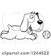 Cartoon Of A Black And White Cute Hound Dog Chasing A Tennis Ball Royalty Free Vector Clipart
