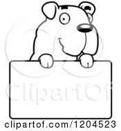 Cartoon Of A Black And White Cute Bulldog Puppy Dog Over A Sign Royalty Free Vector Clipart