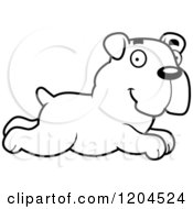Cartoon Of A Black And White Cute Bulldog Puppy Dog Running Royalty Free Vector Clipart