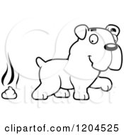 Cartoon Of A Black And White Cute Bulldog Puppy Dog And Poop Royalty Free Vector Clipart