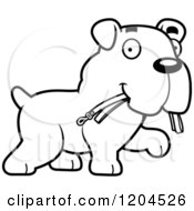 Cartoon Of A Black And White Cute Bulldog Puppy Dog Carrying A Leash Royalty Free Vector Clipart