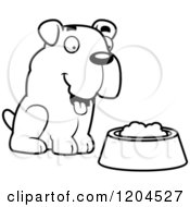 Cartoon Of A Black And White Cute Bulldog Puppy Dog And Food Bowl Royalty Free Vector Clipart by Cory Thoman