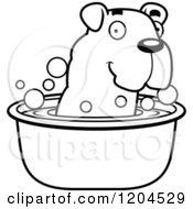 Cartoon Of A Black And White Cute Bulldog Puppy Dog Taking A Bath Royalty Free Vector Clipart