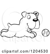 Cartoon Of A Black And White Cute Bulldog Puppy Dog Chasing A Ball Royalty Free Vector Clipart