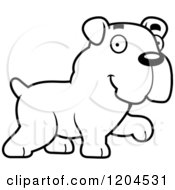 Cartoon Of A Black And White Cute Bulldog Puppy Dog Walking Royalty Free Vector Clipart