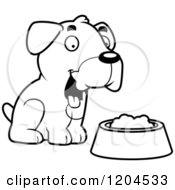 Cartoon Of A Black And White Cute Boxer Puppy Dog Sitting By Food Royalty Free Vector Clipart by Cory Thoman