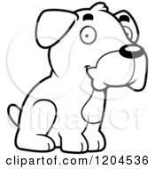 Cartoon Of A Black And White Cute Boxer Puppy Dog Sitting Royalty Free Vector Clipart